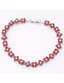 Fresh Red Diamond Decorated Clover Shape Design Zircon Crystal Bracelets