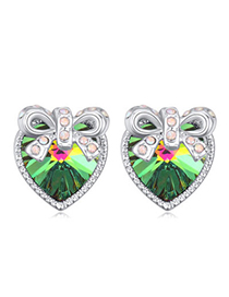 Glamour Multicolor Diamond Decorated Bowknot Shape Design Alloy Crystal Earrings