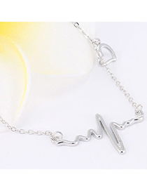 Trendy Silver Color Heart Shape Decorated Simple Design Cuprum Chains