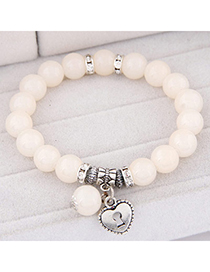 Fashion White Beads Decorated Heart Shape Design Alloy Korean Fashion Bracelet