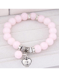 Fashion Light Pink Beads Decorated Heart Shape Design Alloy Korean Fashion Bracelet