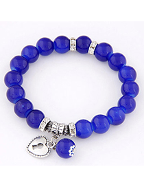 Fashion Sapphire Blue Beads Decorated Heart Shape Design Alloy Korean Fashion Bracelet