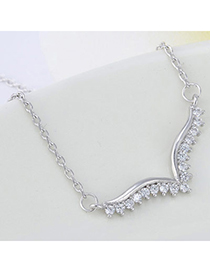 High-quality Silver Color Diamond Decorated Wing Shape Design Cuprum Chains