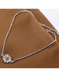Joker Silver Color Flower Shape Decorated Simple Design Alloy Korean Fashion Bracelet
