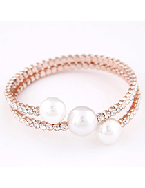 Trendy Rose Gold Diamond Decorated Pearl Design Alloy Fashion Bangles