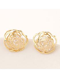 Delicate Gold Color Rose Shape Decorated Hollow Out Design Alloy Stud Earrings