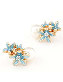 Fresh Blue Flower Shape Decorated Simple Design