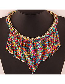 Fashion Multi-color Round Shape Diamond Decorated Double Layer Necklace