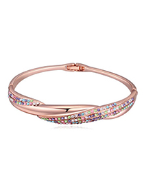 Brilliant Rose Gold & Multicolor Diamond Decorated Weave Design Alloy Crystal Bracelets