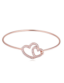 Fashion Rose Gold Diamond Decorated Heart Shape Design Alloy Crystal Bracelets