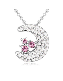 Sweet Plum Red Diamond Decorated Moon Shape Pendant Design Alloy Crystal Necklaces