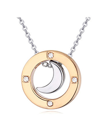 Shiny Gold Color Diamond Decorated Moon Shape Pendant Design Alloy Crystal Necklaces