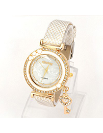 Fashion Brown Round Dail Decorated Pure Color Watch