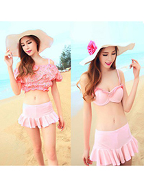 Fashion White Flower Pattern Decorated Swimwear
