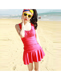 Fashion Pink Pure Color Decorated Low-neckline Bandage Swimsuit