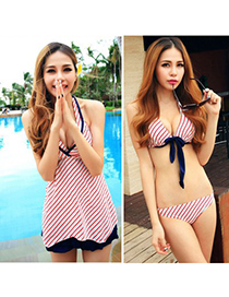 Fashion Purple Color-matching Decorated Swimwear