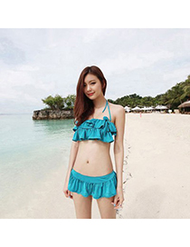 Sexy Green Leaf Shape Pattern Decorated Color Matching Bikini