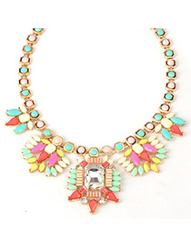 Gored Multicolor Geometric Gemstone Pendant Alloy Bib Necklaces