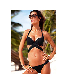Trendy Navy Blue Flower Pattern& Multilayer Chain Decorated Bikini