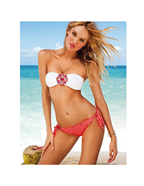 Trendy Orange Tripe Pattern Decorated High Waist Simple Design Bikini