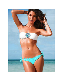 Bohemia Blue Flower Decorated Cross Swimwear