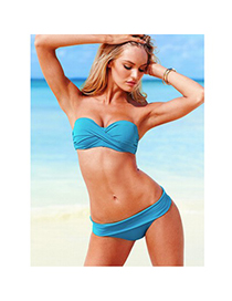 Sexy Blue Pure Color Decorated Bandage Design Split Swimwear