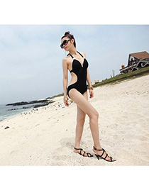 Trendy Mutli-color Flower Pattern Decorated Color Matching One Piece Bikini