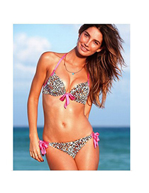 Fashion Green Greenery Pattern Decorated Round Neckline Design Bikini