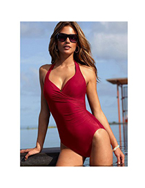 Sexy Claret-red V-neckline Decorated Pure Color Design Simple Bikini