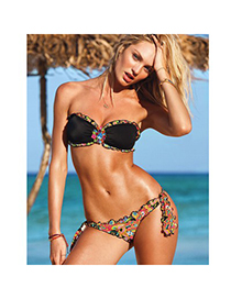 Sexy Navy Blue Flower Pattern Decorated Simple Design Bikini