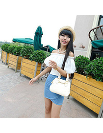 18K beige bowknot decorated simple design pu Messenger bags