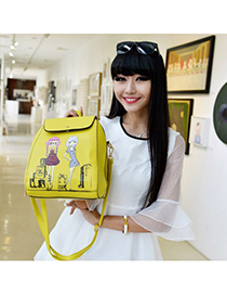 Renaissanc citrine yellow beautiful girl pattern simple design pu Backpack