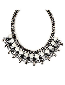 Drawstring gunblack gemstonedecoratedgeometricshapedesign alloy Fashion Necklaces
