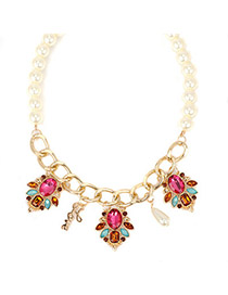 Denim plumred pearldecoratedflowerdesign alloy Korean Necklaces