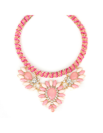 Caterpilla pink gemstonedecoratedflowerdesign alloy Fashion Necklaces