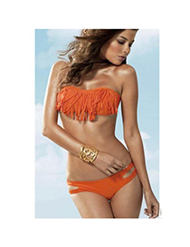 Sexy Fluorescent Blue Tassel Decorated Hang Neck Design  Dacron Sexy Bikini