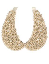 Lilac beige pearl decorated fake collar design pearl Fashion Necklaces