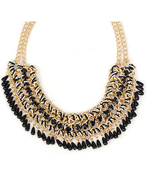 Asian black beads decorated weave design alloy Bib Necklaces