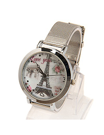 Fashion White Color Matching Decorated Round Dail Shape Watch