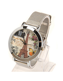 Inexpensiv silver color The Eiffel Tower pattern simple design electronic Ladies Watches