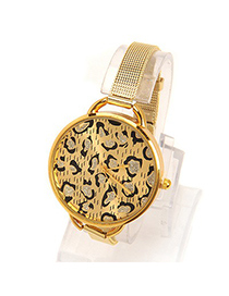 Postal gold color leopard grain pattern simple design electronic Ladies Watches