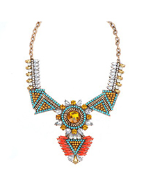 Stretch blue diamond decorated triangle shape design alloy Fashion Necklaces