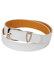 Preppy white diamond decorated heart shape buckle design