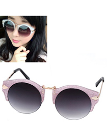 Metallic pink water arrow pattern legs half frame design resin Women Sunglasses