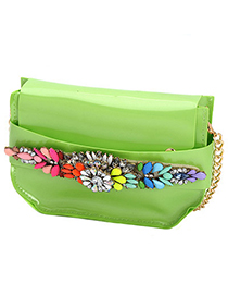 Smart green gemstone decorated simple design pu leather Messenger bags