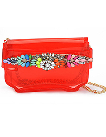 Choker red gemstone decorated simple design PVC Messenger bags