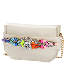 Revealing beige gemstone decorated simple design pu leather Messenger bags