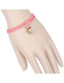Fashion pink phantom decorated double layer design alloy Korean Fashion Bracelet