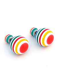 Rave red rainbow pattern decorated round shape design alloy Stud Earrings