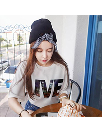 Monogramme black bowknot decorated simple design acrylic fibers Knitting Wool Hats